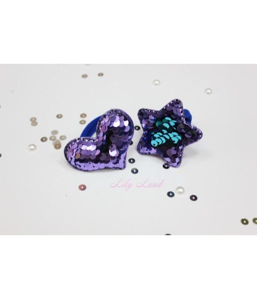 Резинка пайетка, цвет фиолетовый