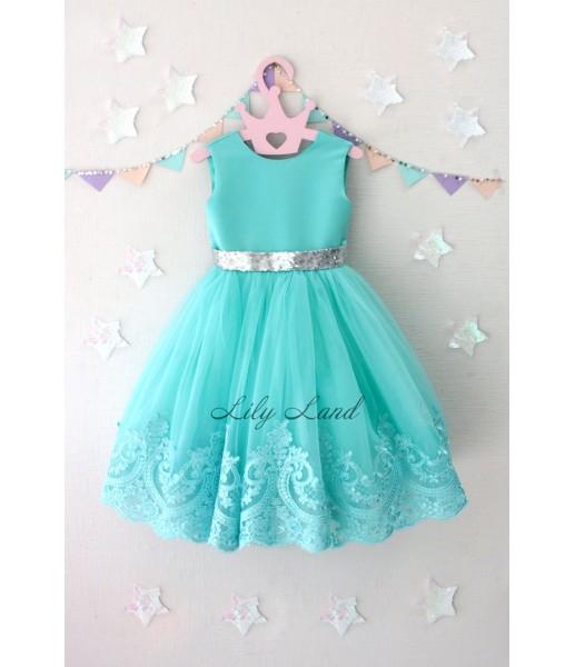 Детское платье Амели, в цвете бирюза