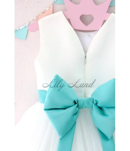 Детское платье Амели, в цвет белый и бирюза