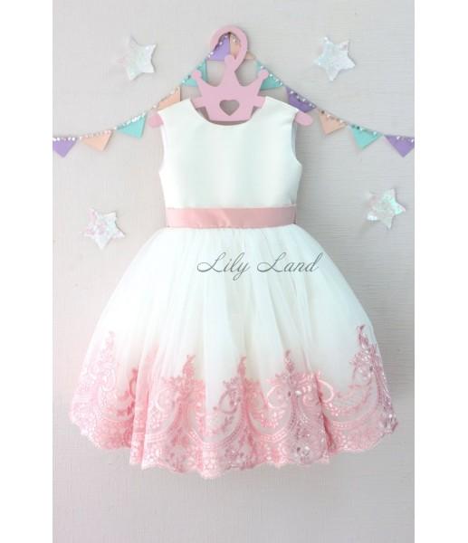 Детское платье Амели, в цвет белый и розовый