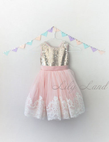 Детское платье Амели, в цвет розовый и золото