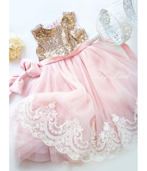 Детское платье Амели, в цвет золото и розовый