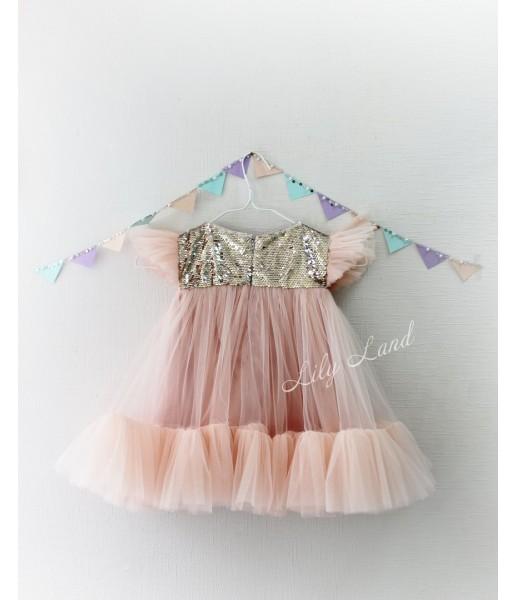 Детское платье Белль, цвет пудра с золотой пайеткой