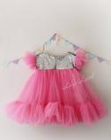 Детское платье Белль, цвет розовый с серебрянной пайеткой