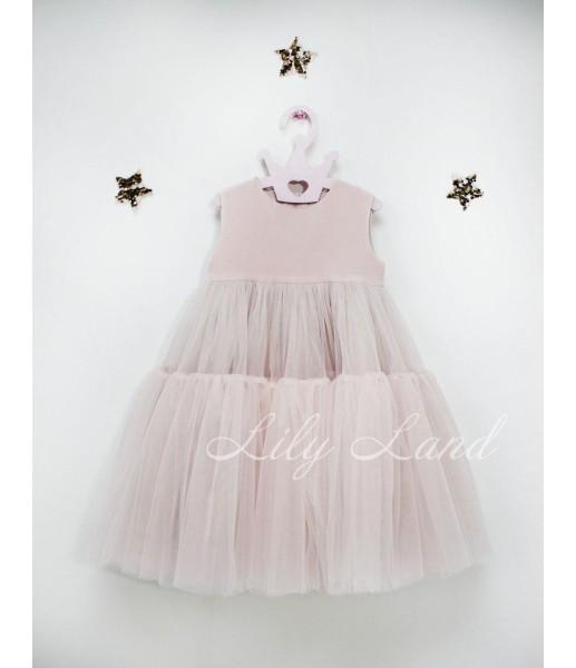 Детское платье Белль пышное , цвет розовая пудра