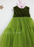 Детское платье Белль пышное , цвет оливка