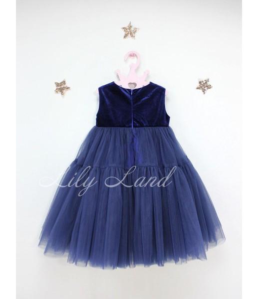 Детское платье Белль пышное , цвет темно синее