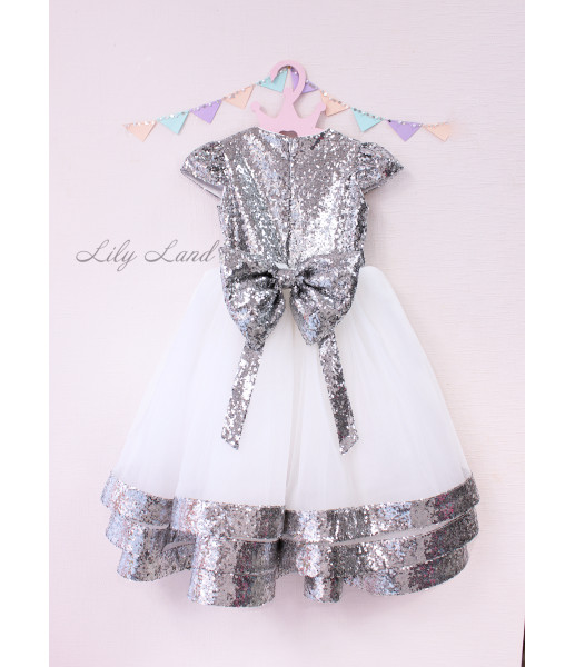 Детское платье Бруклин, серебряная пайетка айвори фатин