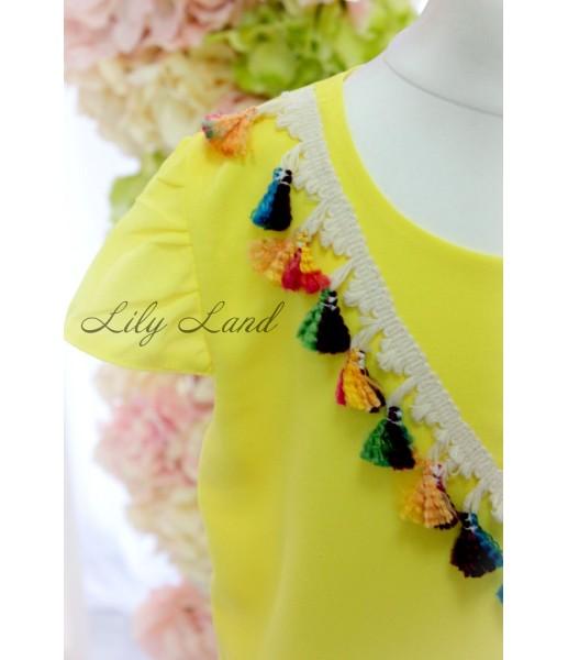 Комплект платьев c помпонами, цвета желтый