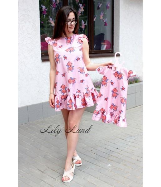 Комплект платьев c помпонами, цвета розовый
