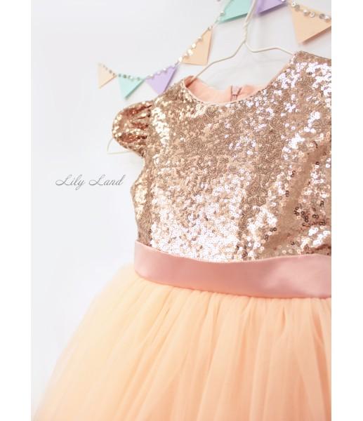 Детское платье Фатиновый рай, цвет брозна и персик