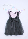 Детское платье Фатиновый рай, черное платье с двухторонней пайеткой розово-черной