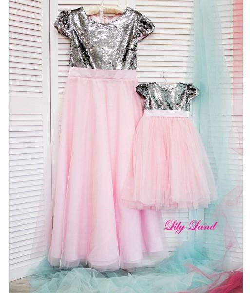 Комплект платьев Фатиновый рай, цвет серебро и розовый