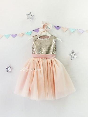 Детское платье Фатиновый рай, цвет золото и пудра вырез сердце