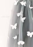 Детское платье Флер, серый, белые бабочки