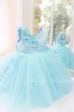 Детское нарядное платье Фловер, цвет голубой