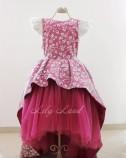 Детское платье со шлейфом из глиттера,цвет бордо