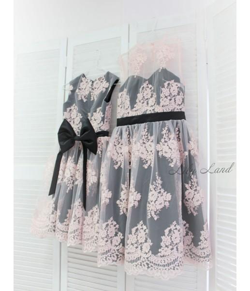 Комплект платьев розовое кружево черный атлас