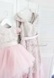 Комплект платьев фатин пыльная роза ,атлас бледная пудра