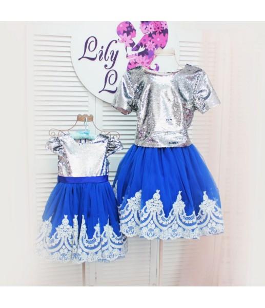 Комплект платьев Амели, цвет синий и серебро