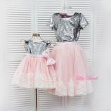 Комплект платьев Амели, цвет серебро и розовый