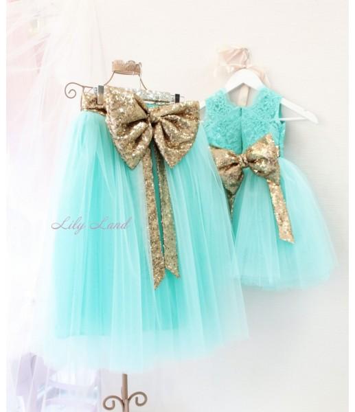 Комплект платьев Луиза, цвет бирюза