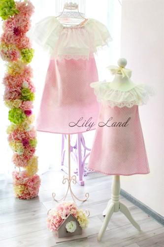 Комплект платьев Колокольчик, цвета розовый в горошек