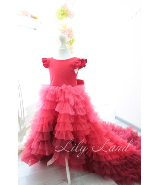 Детское платье Роза с удлиненным шлейфом, цвет красный