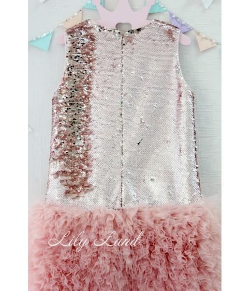 Детское платье Лолита, цвет двухсторонний золото-пудра и персик
