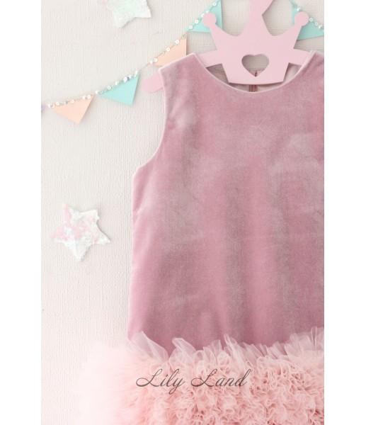 Детское платье Лолита, цвет розовый велюр и фатин