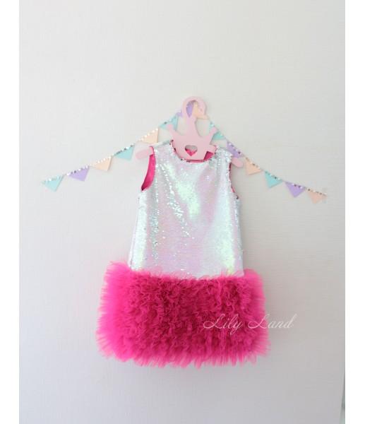 Детское платье Лолита, в цвете серебро-малина