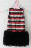 Детское платье Лолита, цвет черный и красный и серебро