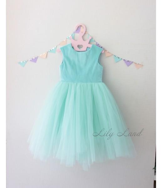Платье Ангельское сердце велюр, цвет мята