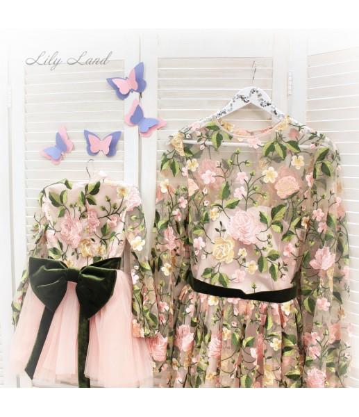 Комплект нарядных платьев, цветочное платье персикового цвета