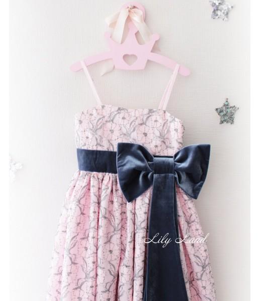 Детское платье, цвет розовый и бархат синий