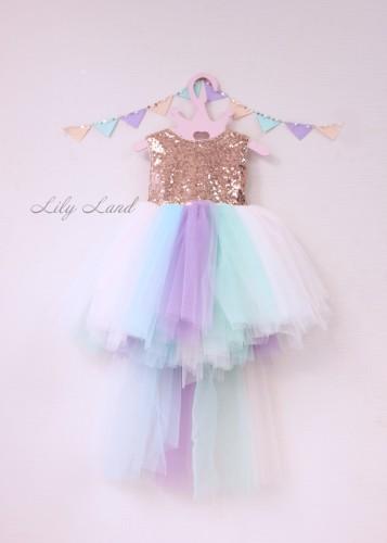 Детское платье MyLittlePonny бронзовая пайетка с шлейфом