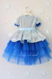 Детское платье Нинель, цвет серебро и синий