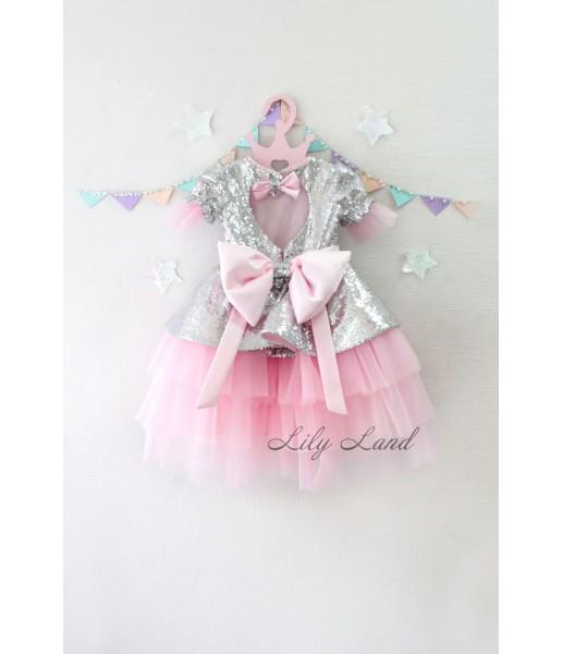 Детское платье Нинель, цвет серебро и розовый