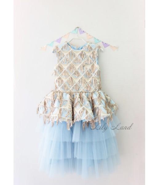 Детское платье Нинель, цвет голубой и золотая пайетка