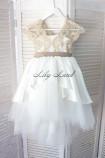 Детское платье Офелия, цвет белый с золотым кружевом