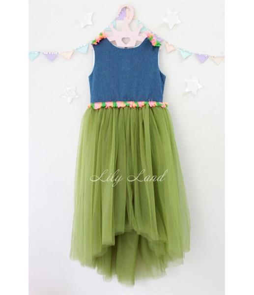 Детское летнее платье, цвет оливковый