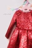 Детское платье со шлейфом из пайеток, шлейф из красной пайетки