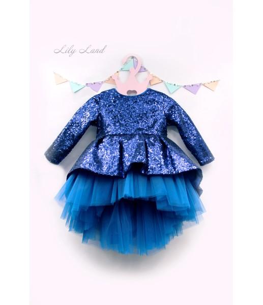Детское платье со шлейфом из пайеток, шлейф из пайетки синего цвета