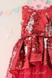 Детское платье со шлейфом из пайеток, цвет красный
