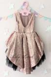 Детское платье со шлейфом из пайеток, цвет золото и черный