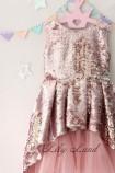 Детское платье со шлейфом из пайеток, цвет золото и пудра