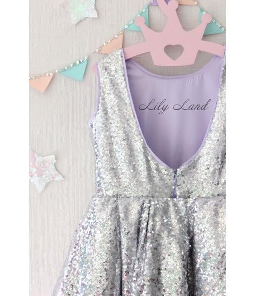 Детское платье со шлейфом из пайеток, цвет серебро и лаванда