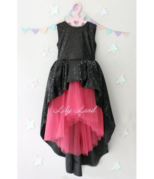 Детское платье со шлейфом из пайеток, цвет красный и черный