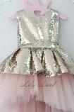 Детское платье со шлейфом из пайеток, цвет золото и розовый