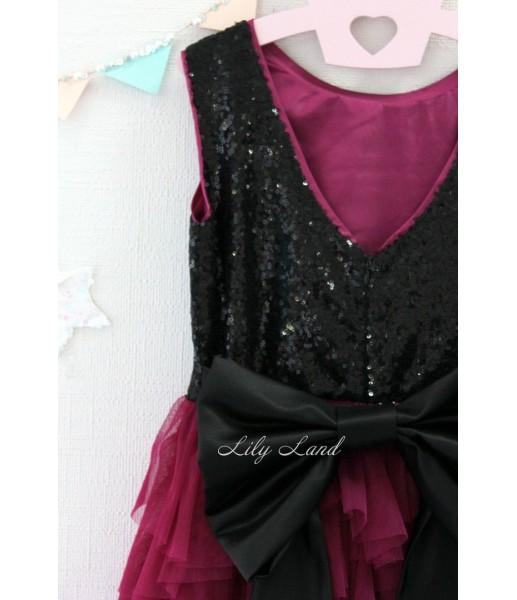 Детское платье Урсула, цвет бордо и черный